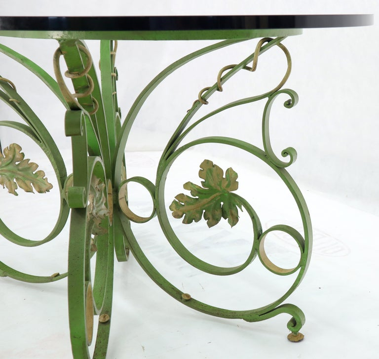 Painted Wrought Iron Base Oval Racetrack Shape Glass Top Dining Outdoor Table In Excellent Condition In Rockaway, NJ