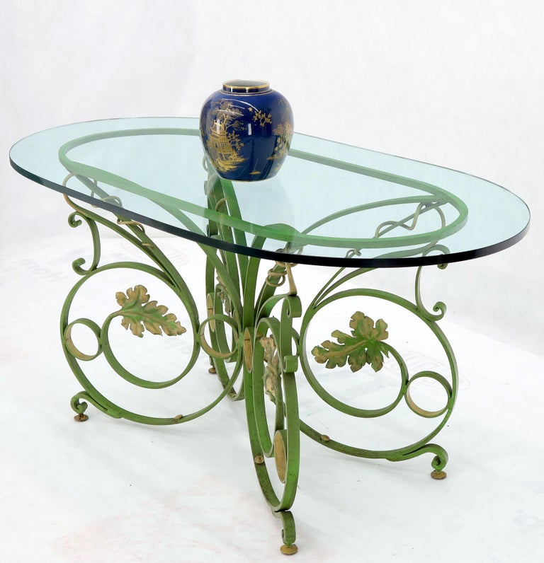Painted Wrought Iron Base Oval Racetrack Shape Glass Top Dining Outdoor Table 1