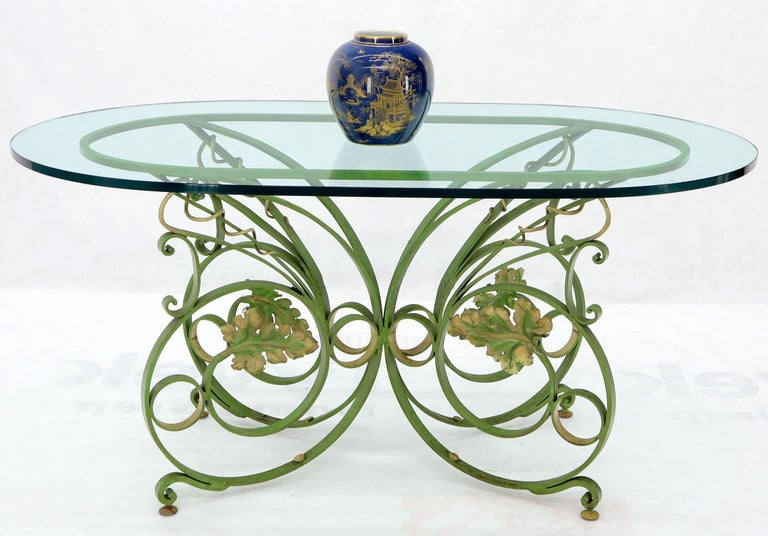 Painted Wrought Iron Base Oval Racetrack Shape Glass Top Dining Outdoor Table 2