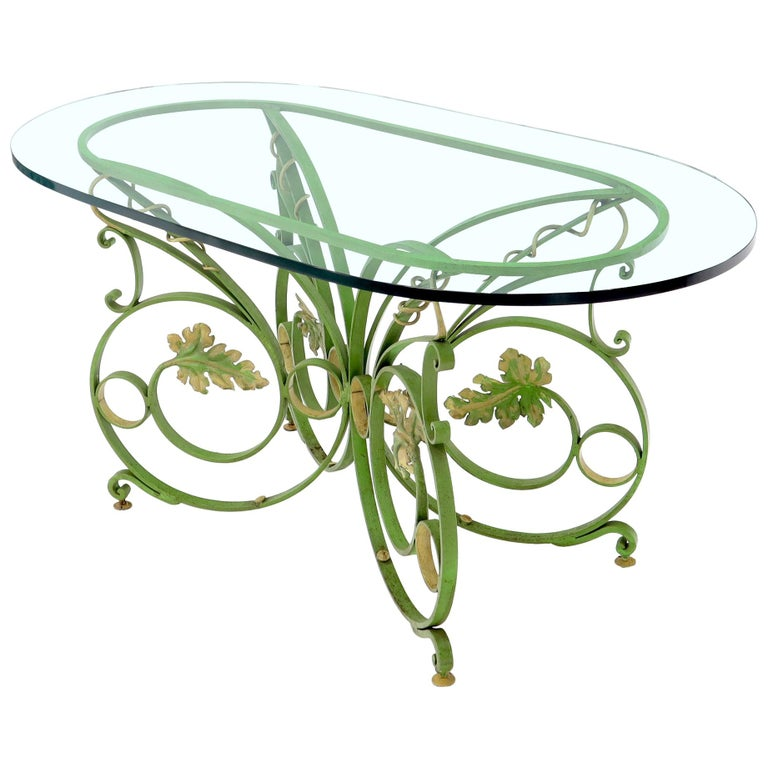Painted Wrought Iron Base Oval Racetrack Shape Glass Top Dining Outdoor Table