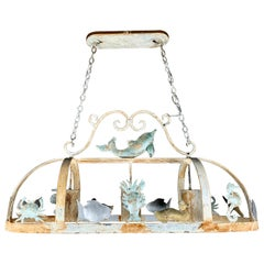 Painted Wrought Iron Ocean Inspired Pot Rack/Ceiling Light