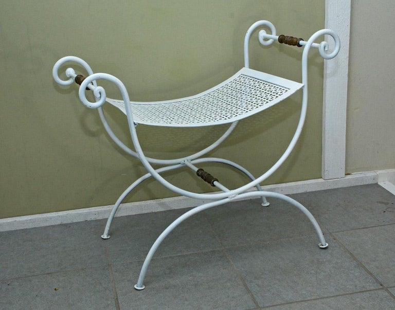 Mid-Century Modern Painted Wrought Iron Vanity Stool or Bench For Sale