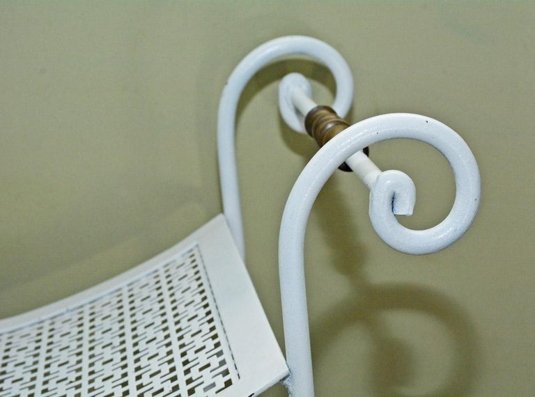 Painted Wrought Iron Vanity Stool or Bench In Good Condition For Sale In Great Barrington, MA