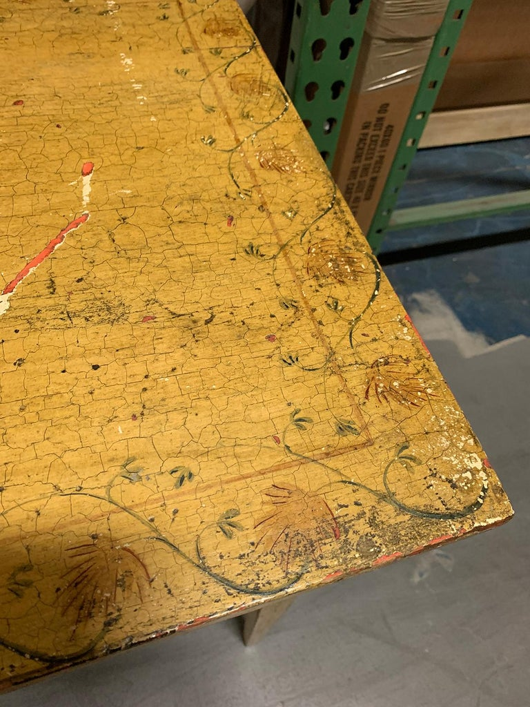 Painted Yellow Regency Writing Table with Drawer, circa 1820 For Sale 8