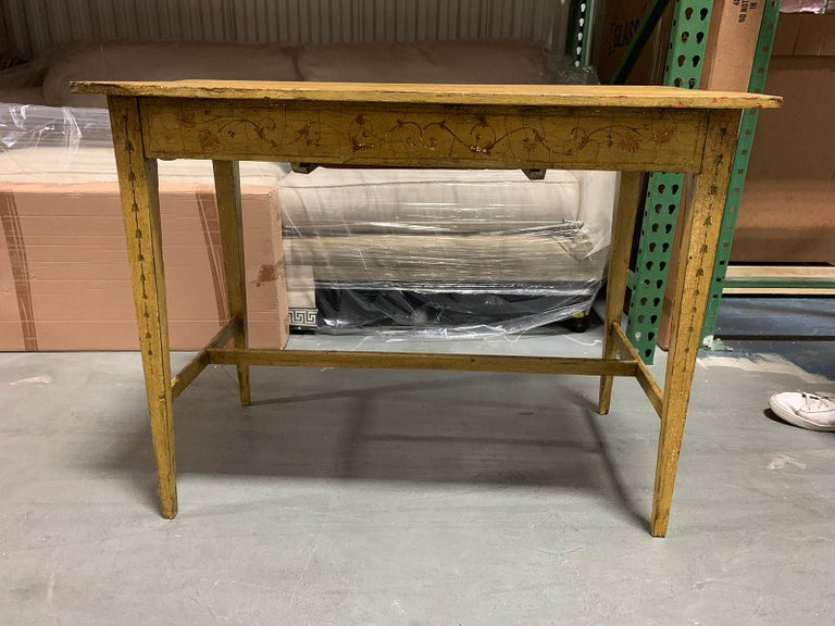 Painted Yellow Regency Writing Table with Drawer, circa 1820 For Sale 12