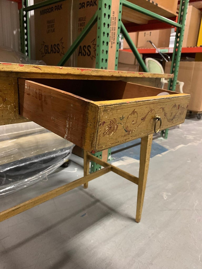 Painted Yellow Regency Writing Table with Drawer, circa 1820 In Good Condition For Sale In Atlanta, GA