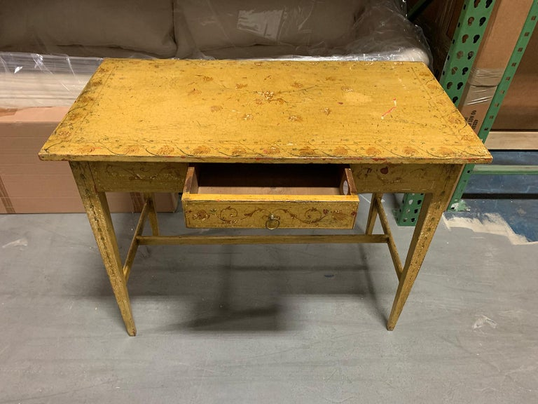 Early 19th Century Painted Yellow Regency Writing Table with Drawer, circa 1820 For Sale