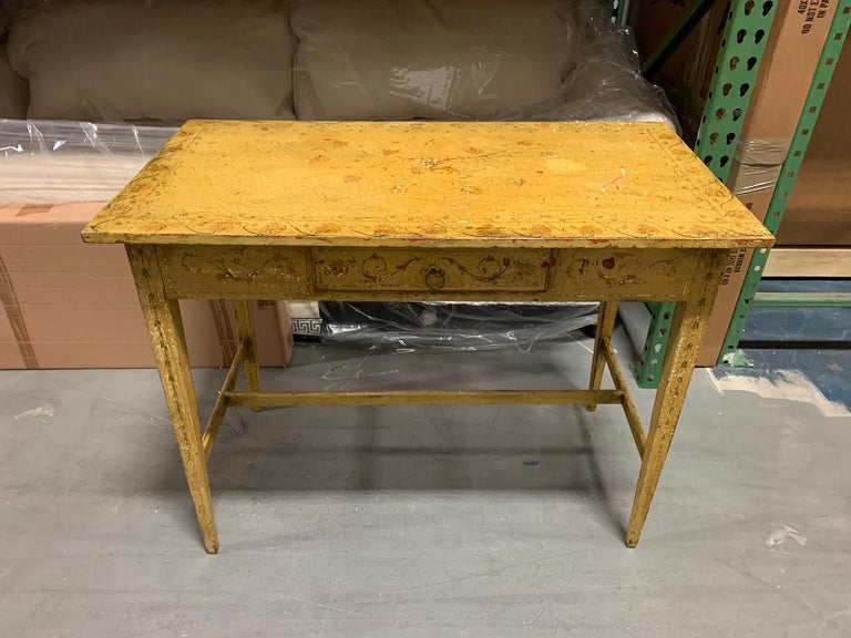 Wood Painted Yellow Regency Writing Table with Drawer, circa 1820 For Sale