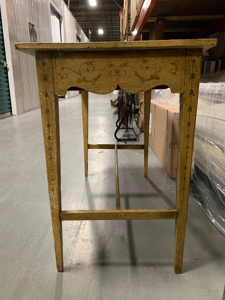 Painted Yellow Regency Writing Table with Drawer, circa 1820 For Sale 1