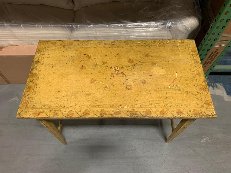 Painted Yellow Regency Writing Table with Drawer, circa 1820 For Sale 2