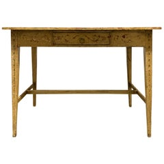 Painted Yellow Regency Writing Table with Drawer, circa 1820