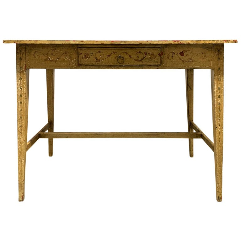Painted Yellow Regency Writing Table with Drawer, circa 1820 For Sale