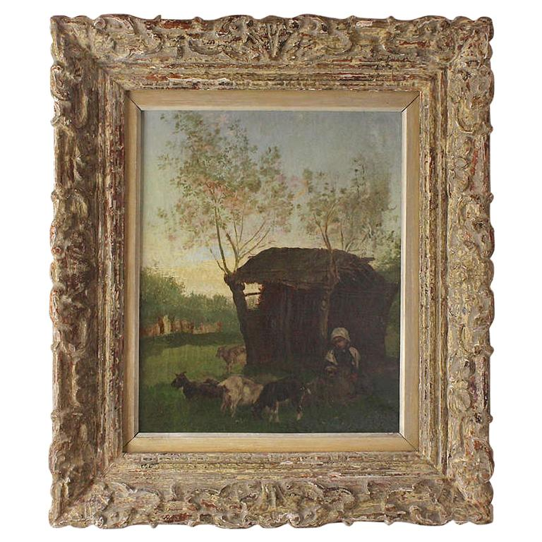Painting School of Barbizon 19th Century Rural Scene with Peasant Girl and Goats