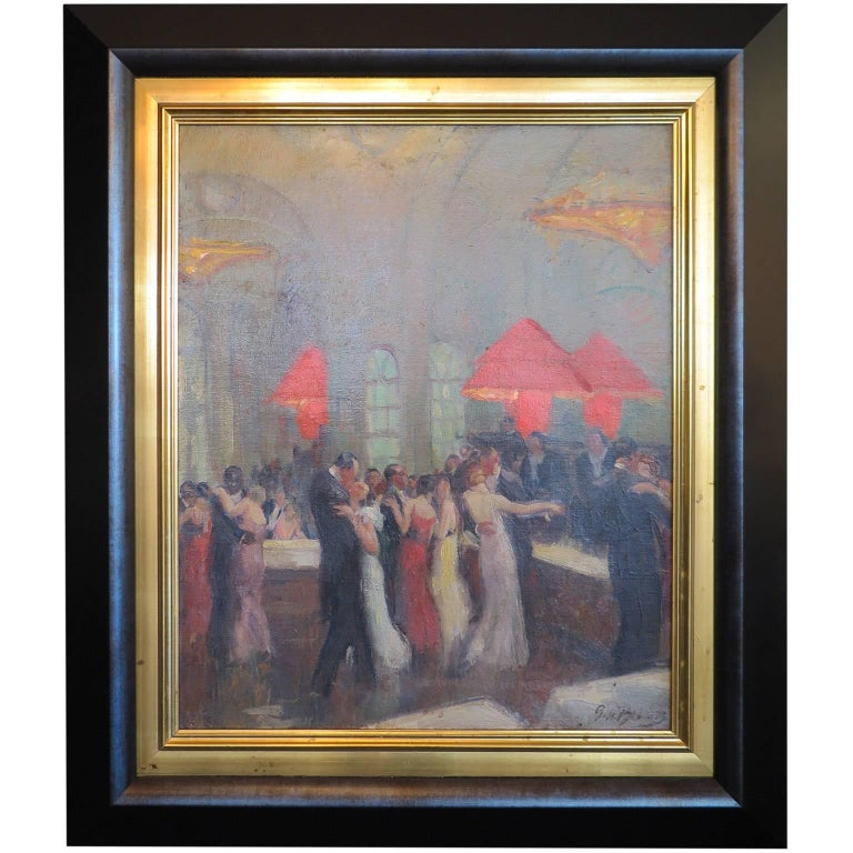 "Painting ""Ball in the Grand Hotel"" by Pierre de Belair, France circa 1920s-1930s"