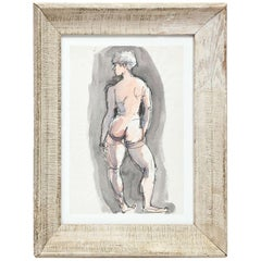 Painting by Barbara Pound, circa 1960, Grey Color, Nude, Great Gift