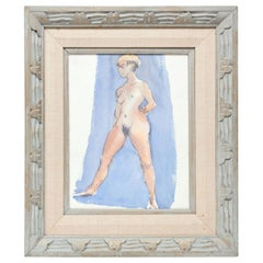 Painting by Barbara Pound, circa 1960, Sky Blue and Rose, Nude