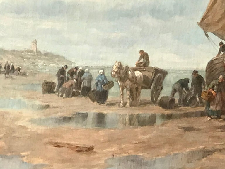 "Barbizon School Painting by Desiree Thomassin ""Fishermen on the Beach"" For Sale"