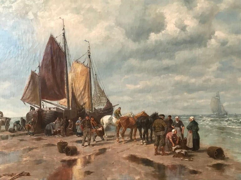 "Oiled Painting by Desiree Thomassin ""Fishermen on the Beach"" For Sale"