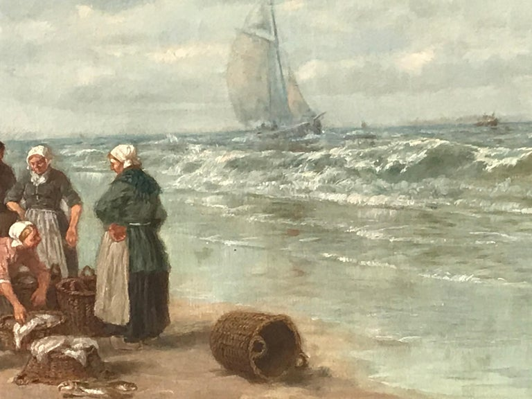"Painting by Desiree Thomassin ""Fishermen on the Beach"" In Good Condition For Sale In Belmont, MA"