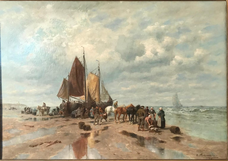 "Painting by Desiree Thomassin (1858 Vienna - 1933 Munich), ""Fishermen on the Beach"", oil on canvas 78x 110 cm (size without frame), 104 x 134 cm (with frame), signed lower right.