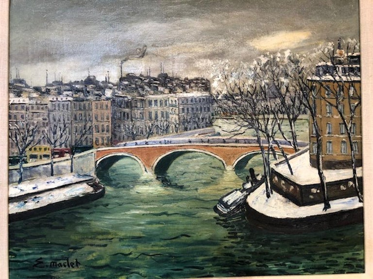 """Elisee Maclet ( 1881-1962)   Very well listed French artist. Studied in Paris, was influence by many famous French artists of the beginning of the 20th century  """"Winter River"""", circa 1915-1920 Oil on canvas,  signed lower left.   Measures:"""