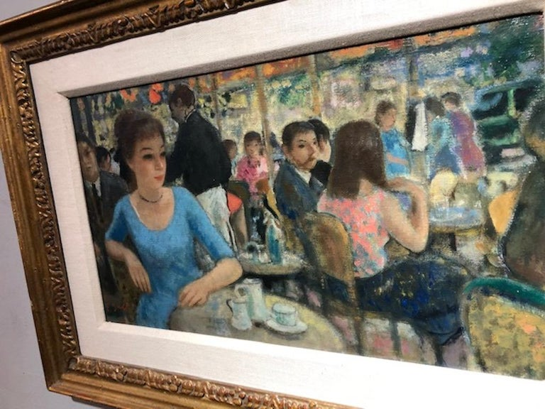 Francois Gall 1912-1987 French artist.  Benezit Listed. Gall Was The Recipient Of The Medaille D'ore At the Paris Salon of 1947.  Measures: 10 ½ x 18 oil on canvas, signed lower right. This café scene remains tranquil and relaxed as the artist's
