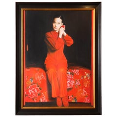 "Painting by Hanoi Artist, circa 2007, ""The Muse"", Red and Black"