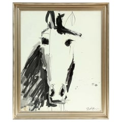 Painting by Jenna Snyder-Phillips, a Horse, Black and White/ Silver Frame