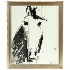 Painting by Jenna Snyder-Phillips, a Horse, Black and White, Silver Frame, USA