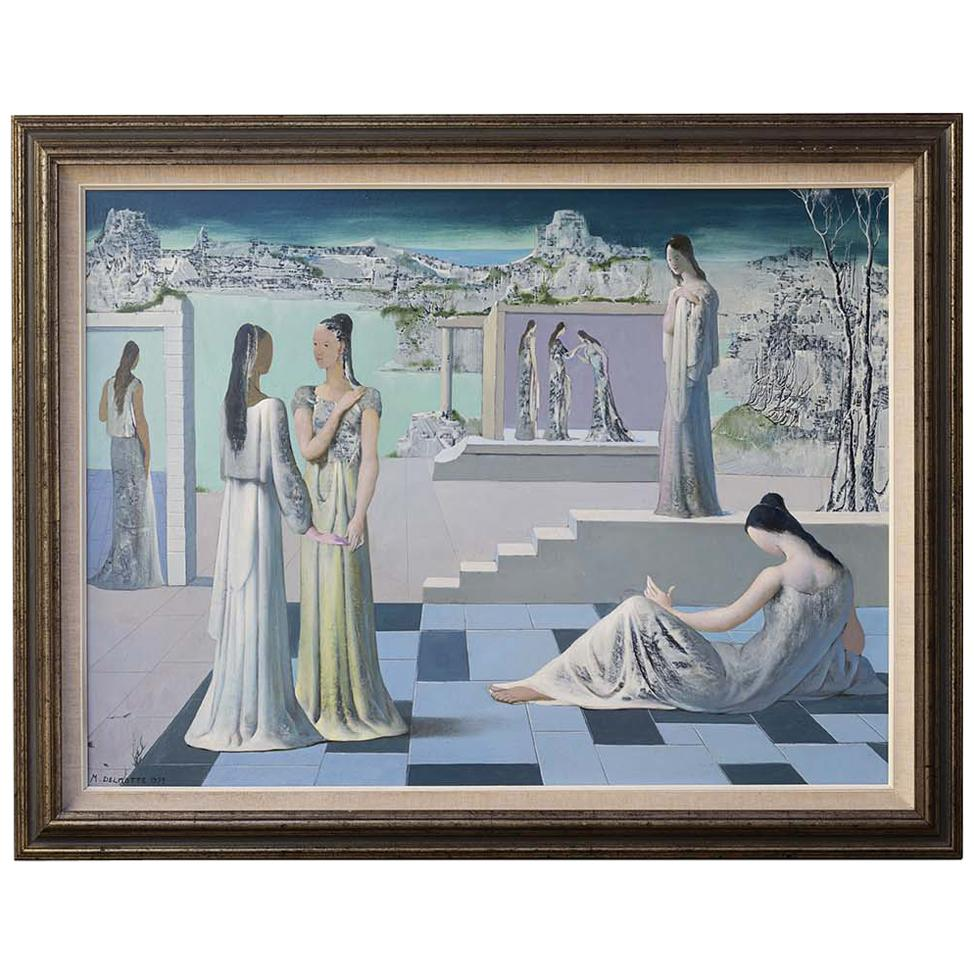 "Painting by Marcel Delmotte Entitled ""Le dialogue du silence"", 1979"