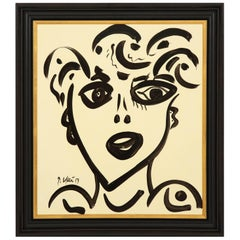 Painting by Peter Keil, Black and White, Modern Art, circa 1959, Face of a Lady