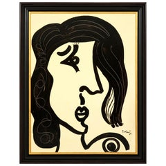 """Painting by Peter Keil, Black and White, Modern Art, """"Lady"""", 1967, in Stock"""