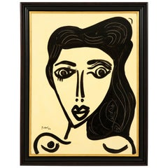 """Painting by Peter Keil, Black and White, """"The Beauty"""", Modern Art"""