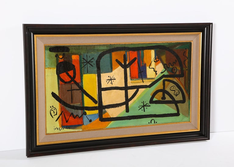 Painting by Peter Keil, C 1959, Modern Mid-Century Art, Red, Green & Brown For Sale 2