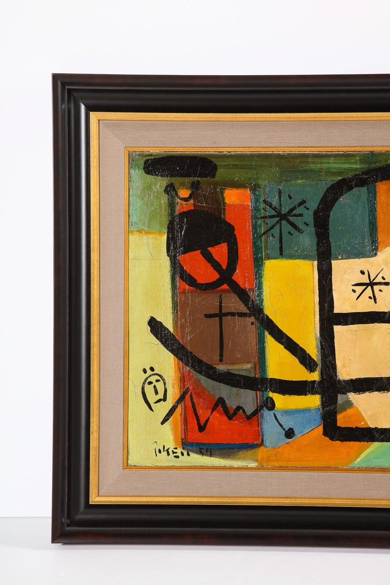 Mid-Century Modern Painting by Peter Keil, C 1959, Modern Mid-Century Art, Red, Green & Brown For Sale