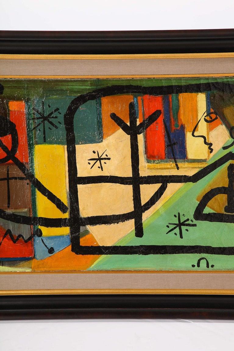 German Painting by Peter Keil, C 1959, Modern Mid-Century Art, Red, Green & Brown For Sale