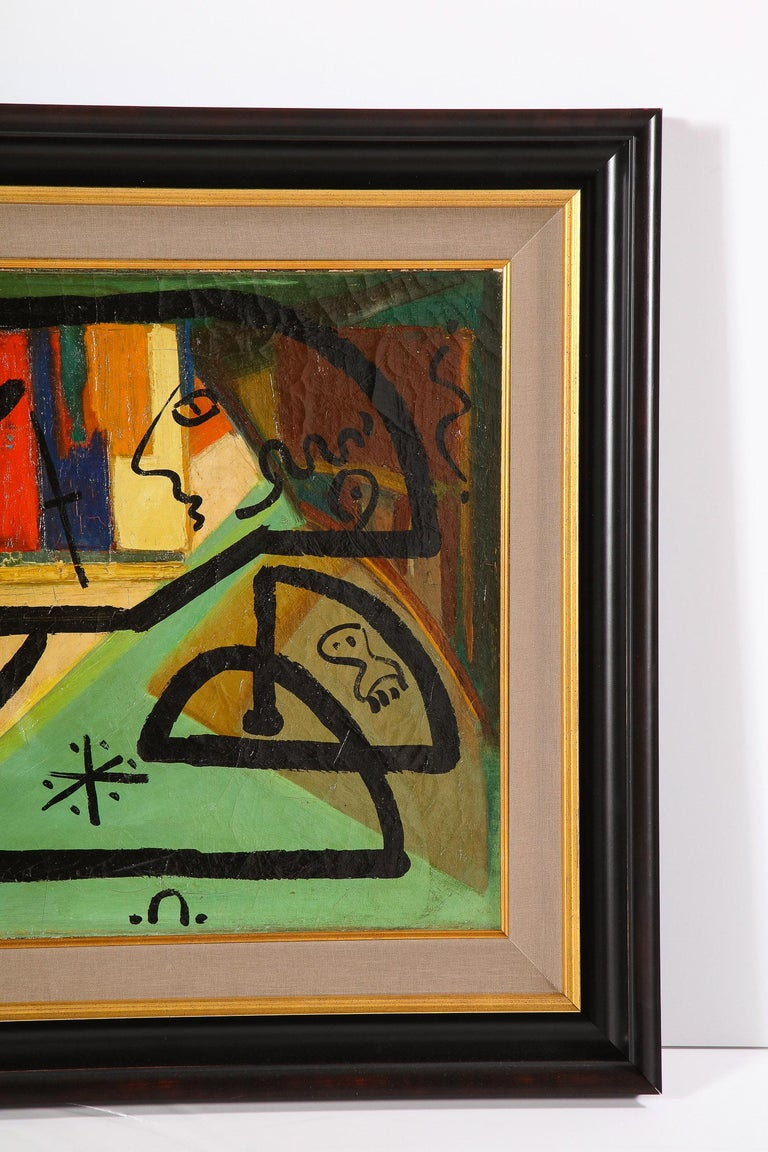 Hand-Painted Painting by Peter Keil, C 1959, Modern Mid-Century Art, Red, Green & Brown For Sale