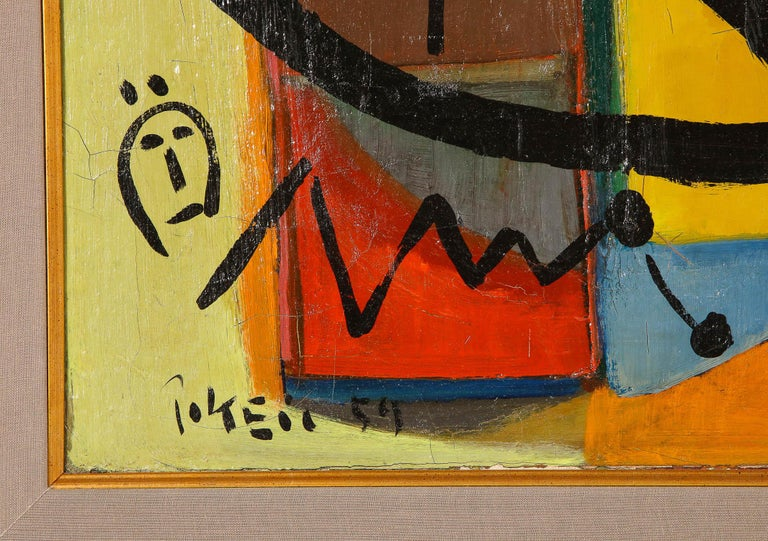 Painting by Peter Keil, C 1959, Modern Mid-Century Art, Red, Green & Brown In Good Condition For Sale In New York, NY