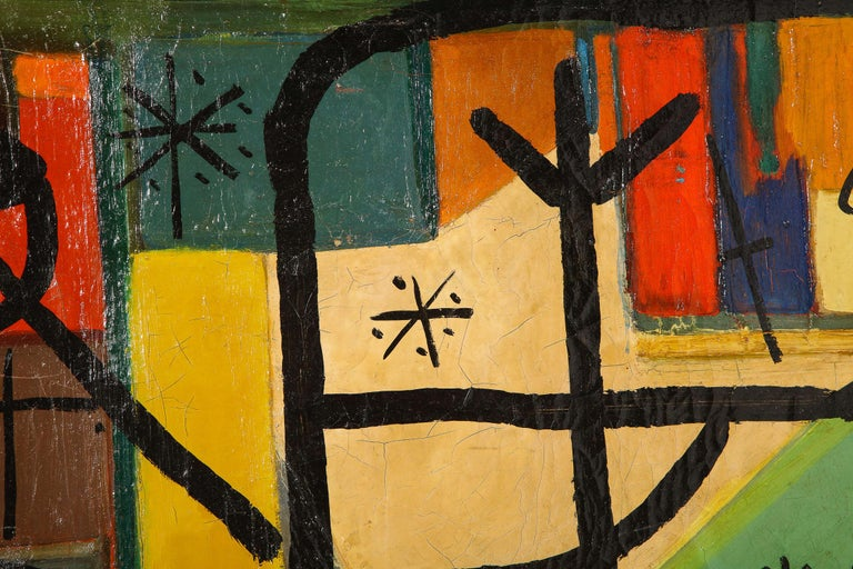 Mid-20th Century Painting by Peter Keil, C 1959, Modern Mid-Century Art, Red, Green & Brown For Sale