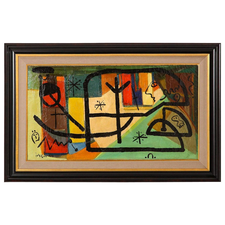 Painting by Peter Keil, C 1959, Modern Mid-Century Art, Red, Green & Brown For Sale