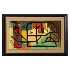 Painting by Peter Keil, C 1959, Modern Mid-Century Art, Red, Green & Brown