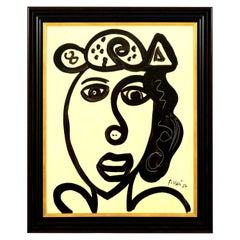 Painting by Peter Keil, C 1967, Mid-Century Modern Art Black & White Colors, Art