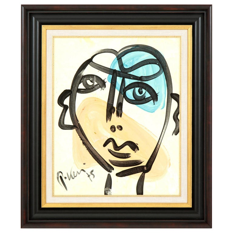 "Painting by Peter Keil, Mid-Century, circa 1975, Blue, Peach and Cream, ""Face"" For Sale"