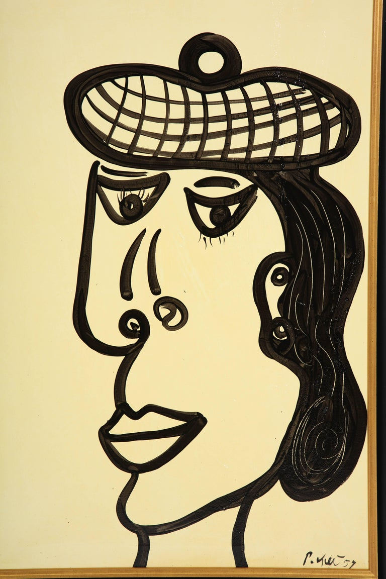 German Painting by Peter Keil, Mid-Century Modern Art, Black and White, circa 1957, Art For Sale