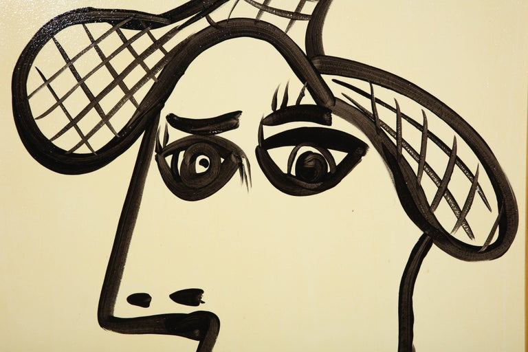 Hand-Painted Painting by Peter Keil, Mid-Century Modern Art, Black and White, c 1964, Art For Sale