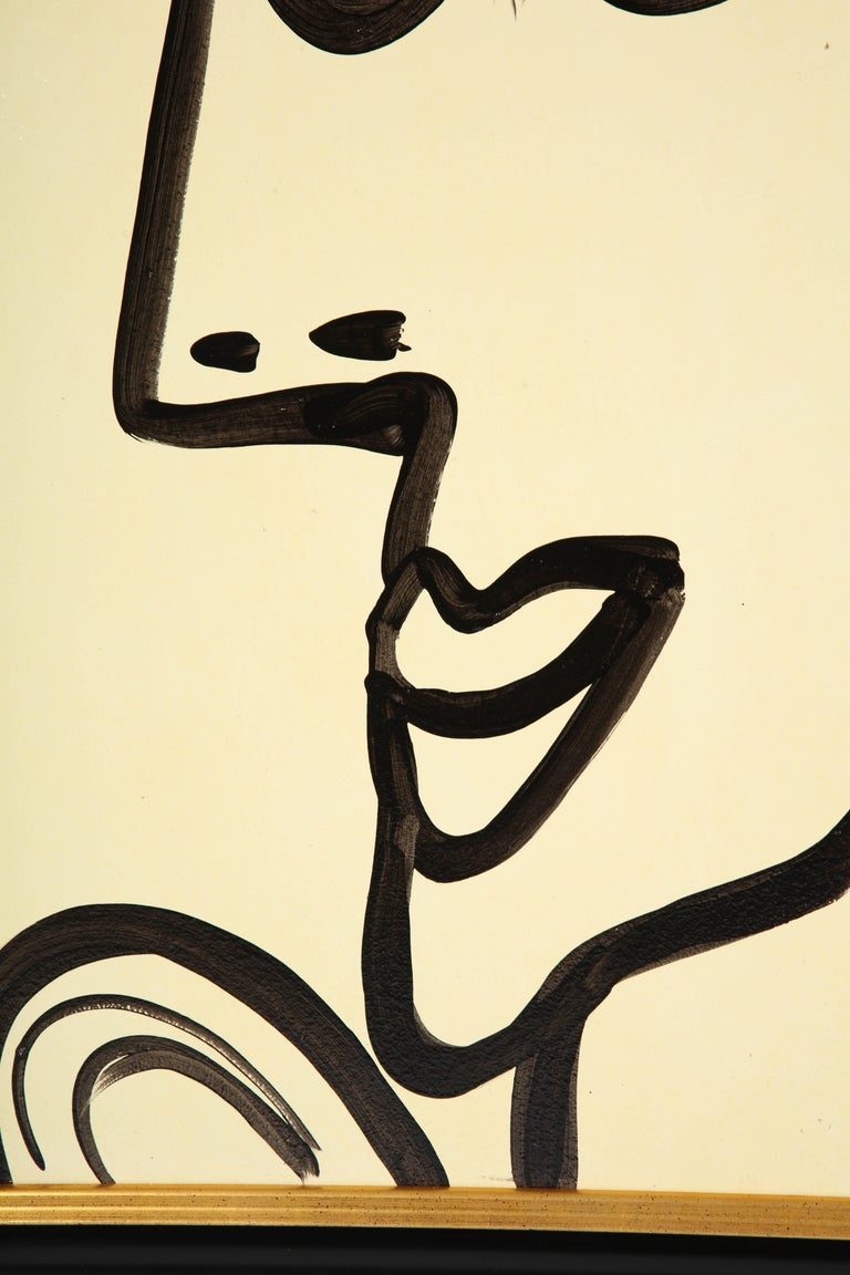 Painting by Peter Keil, Mid-Century Modern Art, Black and White, c 1964, Art In Good Condition For Sale In New York, NY