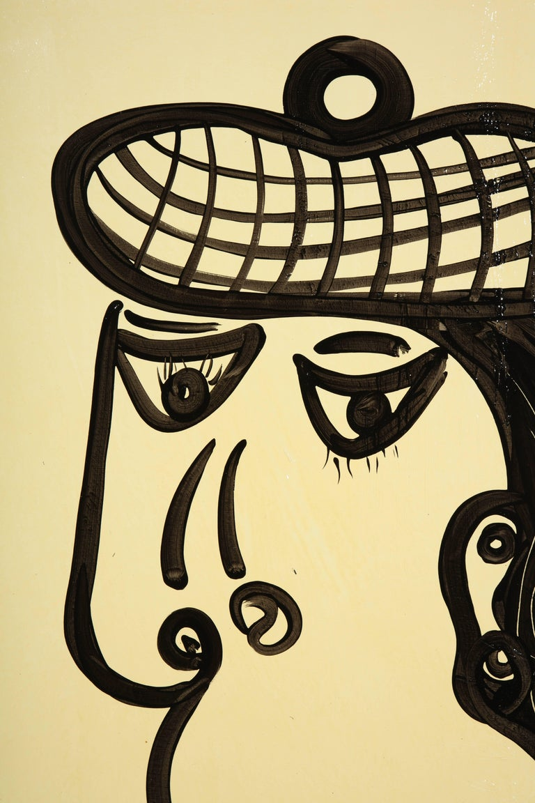 Painting by Peter Keil, Mid-Century Modern Art, Black and White, circa 1957, Art In Good Condition For Sale In New York, NY