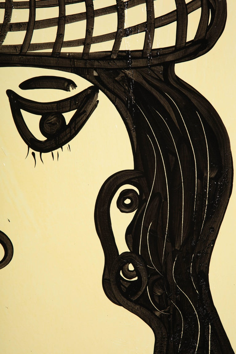 Acrylic Painting by Peter Keil, Mid-Century Modern Art, Black and White, circa 1957, Art For Sale