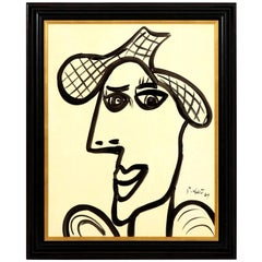 Painting by Peter Keil, Mid-Century Modern Art, Black and White, C 1964, Framed