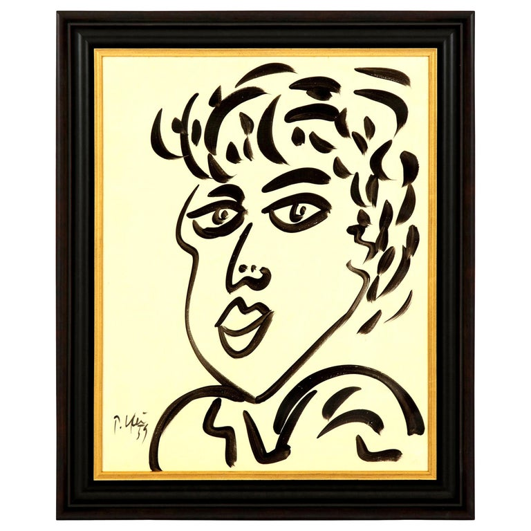 Painting by Peter Keil, Mid-Century Modern Art, Black and White, Modern Art For Sale
